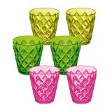 Koziol Becher Crystal S 6er Set transparent pink/oliv/grün