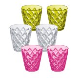 Koziol Becher Crystal S 6er Set transparent pink/oliv/klar
