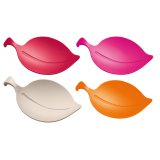 Koziol Glasabdeckung Leaf-On 4er-Set himbeer/orange/pink/taupe