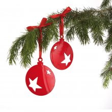 Weihnachtsdeko Stars 2er-Set transparent bordeaux