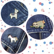 Ansteck-Pin-Set Animal Party