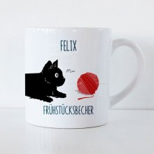 Tasse für Kinder Long Cat mit Name und Text