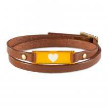 Armband Mika Herz cognac/orange