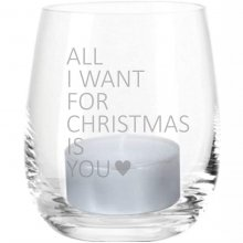 4you Design GmbH & Co. KG Windlicht Gravur All I Want for Christmas is You (Motiv: ein Herz)