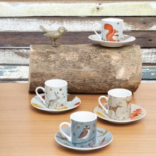 Espresso Tassen mit Untertellern Forest Friends 4er Set