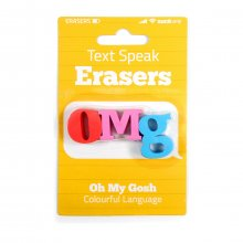 Radiergummis Text Speak Erasers OMG 3 Stück