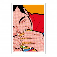 Poster Superman mit Burger