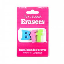 Radiergummis Text Speak 3 Stk. Erasers BFF