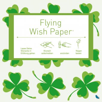 Wunschzettel-Set Flying Wish Paper Mini cloverleaf green