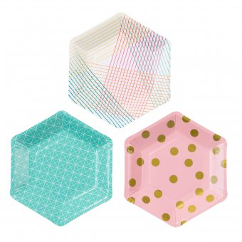 Pappteller Party Time Hexagon 12er-Set