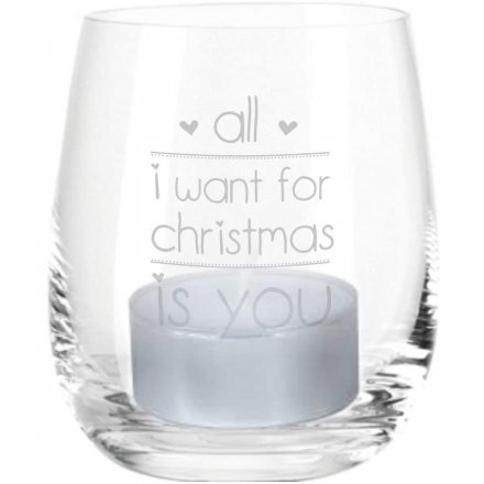 4you Design GmbH & Co. KG Windlicht Gravur All I Want for Christmas is You (Motiv: zwei Herzen)