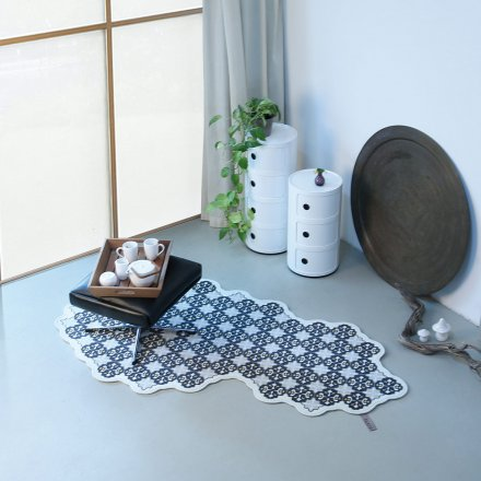 FLAT´N Wollteppich Tiles grey pepper/mango
