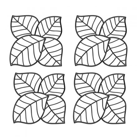 Koziol Dekoelement Leaf 4er-Set transparent anthrazit