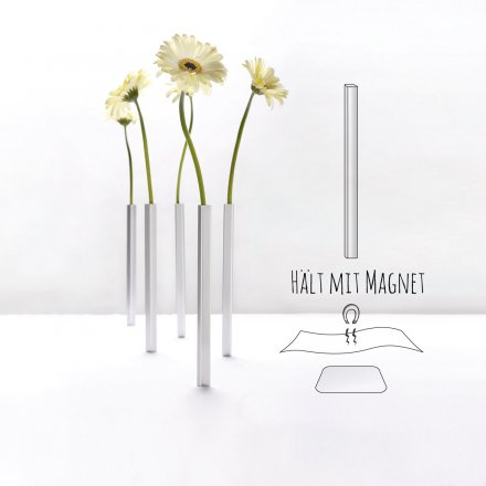 Magnetic Vase 5er-Set silber
