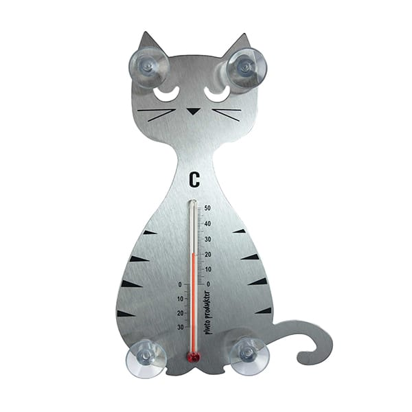 Thermometer Katze silber