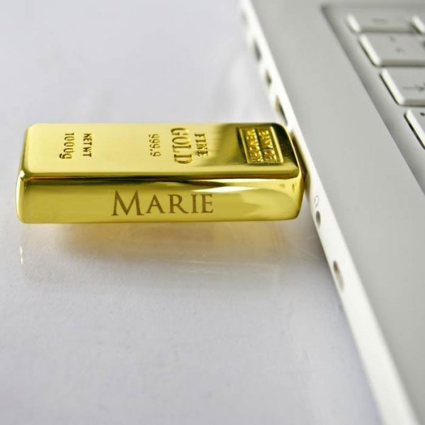 Personalisierbarer USB-Stick Goldbarren 16GB