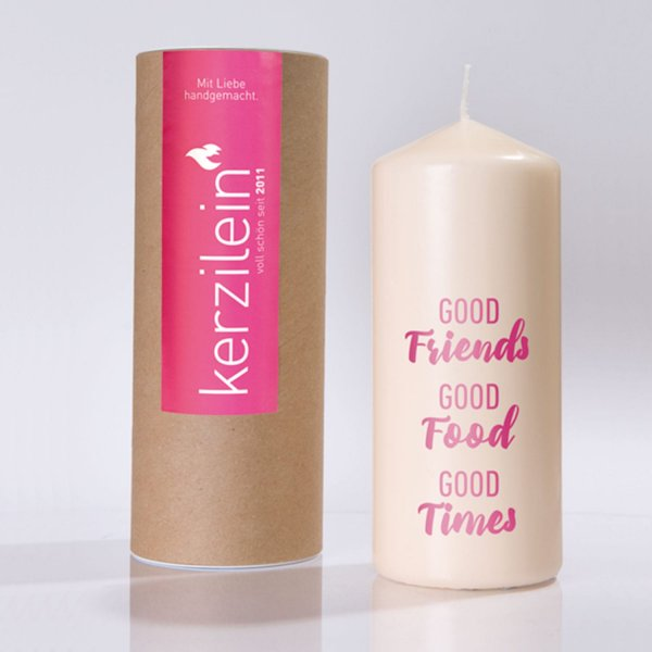 Kerze good friends pink