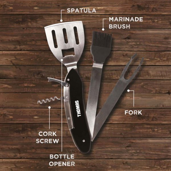 Personalisierbares BBQ Grillbesteck 5-in-1 Name
