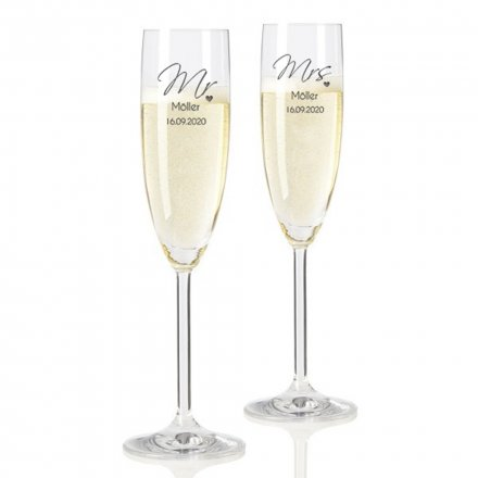 Sektglas-Set Mr & Mrs mit Namen und Datum