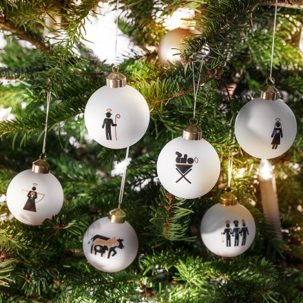 Donkey Products Christbaumkugeln Krippe 6er-Set