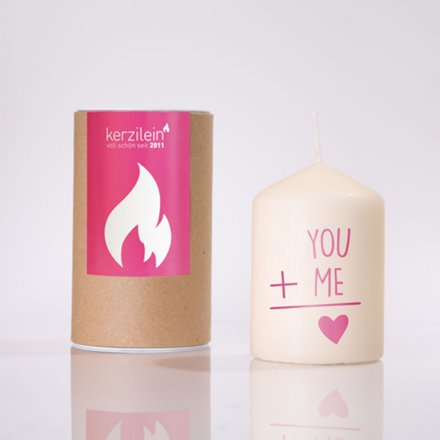 Kerze You and me pink