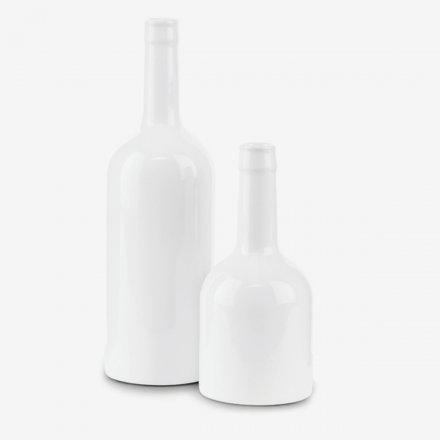 Vase/Kerzenhalter Wine Bottle weiß