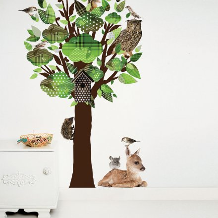 kek amsterdam wandtattoo forest friends baum gr n. Black Bedroom Furniture Sets. Home Design Ideas
