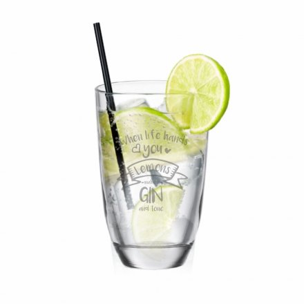 GIN-Glas Gravur When life hands you Lemons - make a GIN and tonic
