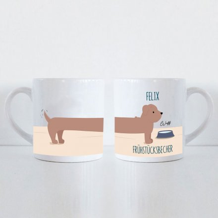 Tasse für Kinder Long Dog mit Name und Text