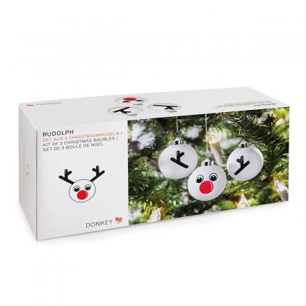 Donkey Products Christbaumkugeln Rudolph  3er-Set