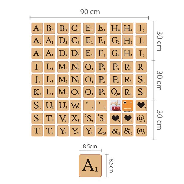 walplus wandsticker buchstaben im scrabble look online kaufen online shop. Black Bedroom Furniture Sets. Home Design Ideas